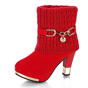 cheap Women's Boots-Women's Boots Chunky Heel Round Toe PU Booties / Ankle Boots Winter Black / Red