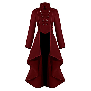 cheap Lolita Dresses-Plague Doctor Retro Vintage Steampunk Coat Masquerade Tuxedo Women's Costume Black / Green / Red Vintage Cosplay Party Halloween Long Sleeve