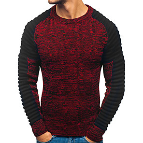 povoljno Obuća za dvoranski ples i moderne plesove-Muškarci Color block Pullover Dugih rukava Duks džemper Jesen Zima Red Tamno siva