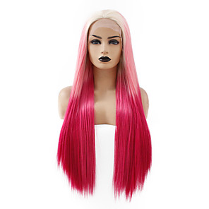 cheap Synthetic Lace Wigs-Synthetic Lace Front Wig Straight Gaga Middle Part Lace Front Wig Ombre Long Ombre Color Synthetic Hair 22-26 inch Women's Heat Resistant Women Hot Sale Ombre / Glueless