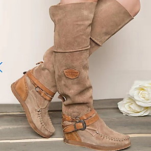 cheap Women's Boots-Women's Boots Cowboy / Western Boots Wedge Heel Round Toe PU Mid-Calf Boots Fall & Winter Brown / Blue / Gray