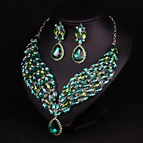 cheap Jewelry Sets-Women's Clear Blue Red AAA Cubic Zirconia Drop Earrings Collar Necklace Chandelier Heart Fashion Elegant Earrings Jewelry Champagne / Green For Wedding Engagement Holiday 1 set