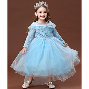 cheap Movie & TV Theme Costumes-Princess Elsa Dress Flower Girl Dress Girls' Movie Cosplay A-Line Slip Halloween Christmas Blue Dress Halloween