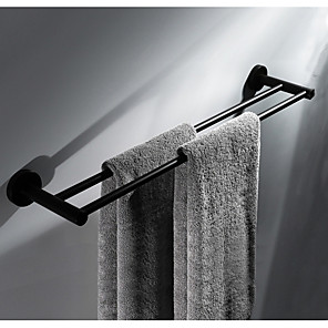 cheap Towel Bars-Black Multifunction Contemporary Stainless Steel 2pc Double Wall Mounted Towel Bar