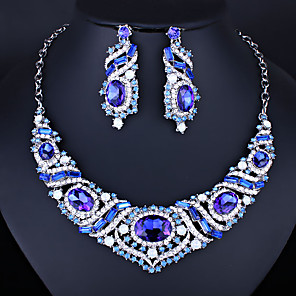 cheap Jewelry Sets-Women's Clear Blue White AAA Cubic Zirconia Collar Necklace Chandelier Heart Luxury Fashion Elegant Earrings Jewelry White / Blue For Wedding Engagement Holiday 1 set