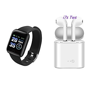 cheap Smartwatches-116 PLUS Smartwatch with Free TWS Wireless Headphone BT Fitness Tracker for Samsung/ Iphone/ Android Phones