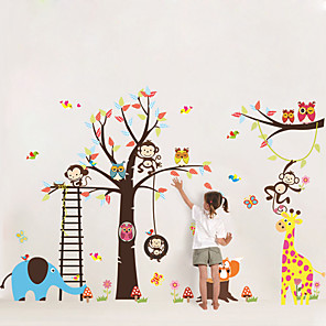 cheap Wall Stickers-Decorative Wall Stickers - Plane Wall Stickers / Animal Wall Stickers Landscape / Animals Nursery / Kids Room