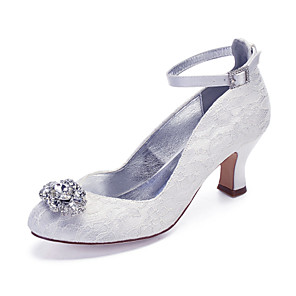 cheap Wedding Shoes-Women's Wedding Shoes Cuban Heel Round Toe Rhinestone / Sparkling Glitter Lace / Satin Classic / Vintage Spring & Summer / Fall & Winter White / Ivory / Party & Evening
