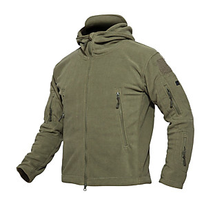 cheap Hiking Trousers & Shorts-Men's Hunting Fleece Jacket Outdoor Thermal / Warm Wearproof Comfortable Protective Spring Fall Winter Terylene Flannel Black Army Green Grey