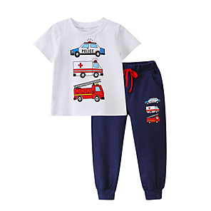 cheap Kids Collection Under $8.99-Baby Boys' Casual / Active Print Print Short Sleeve Long Clothing Set Black