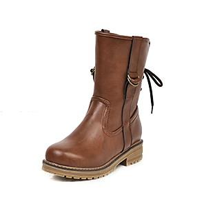 cheap Women's Boots-Women's Boots Low Heel Round Toe PU British Fall & Winter Black / Dark Brown