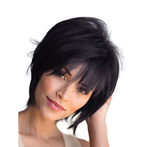cheap Synthetic Trendy Wigs-Human Hair Blend Wig Short Straight Natural Straight Bob Pixie Cut Layered Haircut Asymmetrical Black Blonde Cool Fashion Comfortable Capless Women's All Medium Auburn#30 Natural Black Medium Auburn