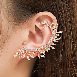 cheap Hair Jewelry-Women's Clip on Earring Ear Cuff Hollow Out Leaf Precious Fashion Earrings Jewelry Gold / Silver For Party Daily Street 1pc