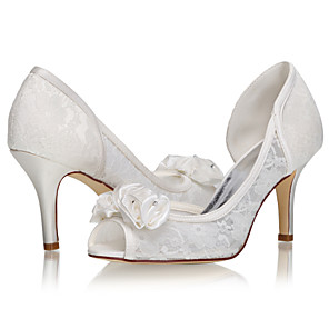 cheap Wedding Shoes-Women's Wedding Shoes Stiletto Heel Peep Toe Lace / Satin Sweet / Minimalism Spring & Summer / Fall & Winter Ivory / Party & Evening