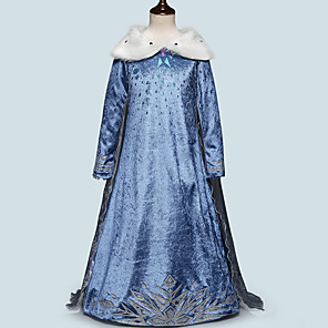 cheap Movie & TV Theme Costumes-Princess Elsa Dress Masquerade Flower Girl Dress Girls' Movie Cosplay A-Line Slip Cosplay Halloween Light Blue Dress Halloween Carnival Masquerade Tulle Polyester