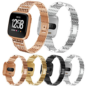 cheap Smartwatch Bands-Watch Band For Fitbit Versa / Fitbit Versa Lite / Fitbit Versa 2 Fitbit Sport Band / Classic Buckle / Jewelry Design Stainless Steel Wrist Strap For Fitbit Versa / Fitbit Versa Lite / Fitbit Versa 2