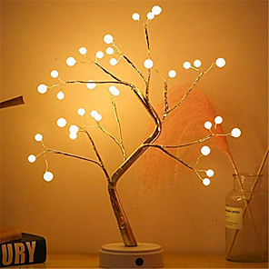 cheap LED String Lights-LED Pearl Cherry Blossom Tree Light Staycation Ball Table Lamps Night light for Home Indoor Bedroom Wedding Christmas Party Decoration 1pc