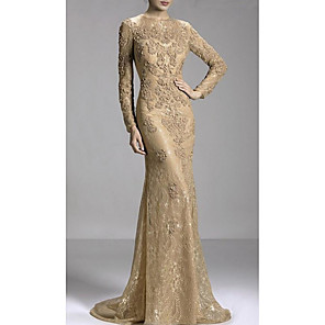 cheap Women's Sandals-Mermaid / Trumpet Luxurious Gold Engagement Formal Evening Dress Jewel Neck Long Sleeve Sweep / Brush Train Lace with Beading Appliques 2020