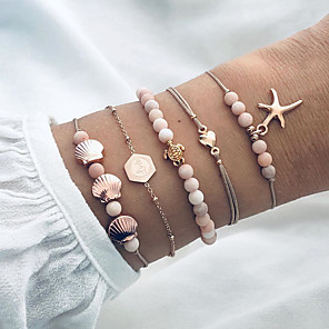 cheap Necklaces-5pcs Women's Bead Bracelet Vintage Bracelet Earrings / Bracelet Layered Star Turtle Starfish Classic Vintage Trendy Fashion Cute Cord Bracelet Jewelry Gold For Gift Daily School Holiday Festival