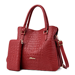 cheap Handbag & Totes-Women's Bags PU Leather Bag Set 2 Pieces Purse Set Zipper / Embossed for Daily / Office & Career Black / Blue / Red / Bag Sets / Fall & Winter