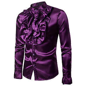cheap Historical & Vintage Costumes-Victorian Blouse / Shirt Men's Costume Black / Purple / Yellow Vintage Cosplay Party Halloween Club Long Sleeve