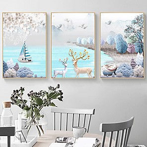 cheap Prints-Print Rolled Canvas Prints Modern Three Panels Art Prints