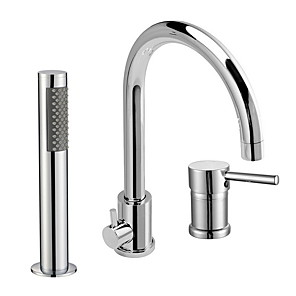 cheap Bathtub Faucets-Shower Faucet - Contemporary Wall Mounted Ceramic Valve Bath Shower Mixer Taps