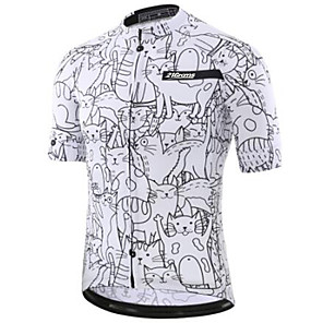 cheap Cycling Jerseys-21Grams Men's Short Sleeve Cycling Jersey Winter Black / White Bike Jersey Top Mountain Bike MTB Road Bike Cycling UV Resistant Breathable Quick Dry Sports Clothing Apparel / Stretchy