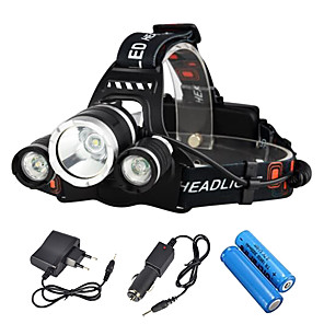 cheap Flashlights & Camping Lanterns-Boruit® RJ-3000 Headlamps Headlight LED LED 3 Emitters 3000/5000 lm 4 Mode with Charger Rechargeable Strike Bezel Camping / Hiking / Caving Traveling