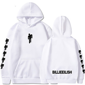 cheap Everyday Cosplay Anime Hoodies & T-Shirts-Inspired by Cosplay Billie Eilish Cosplay Costume Hoodie Pure Cotton Print Printing Fancy Hoodie For Men's / Women's