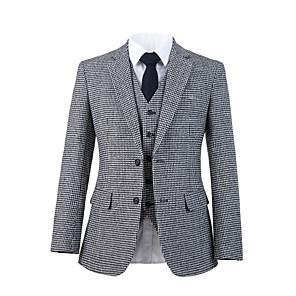 cheap Custom Suits-Gray houndstooth tweed wool custom suit