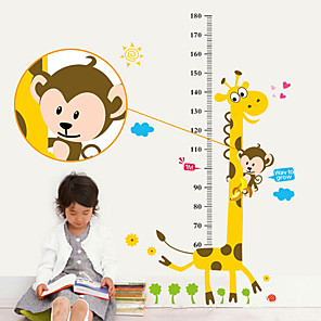 cheap Wall Stickers-Cartoon monkey giraffe measuring height sticker home bedroom background decoration removable sticker AY831