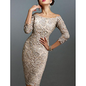 cheap Evening Dresses-Sheath / Column Elegant Holiday Cocktail Party Dress Off Shoulder 3/4 Length Sleeve Knee Length Lace with Lace 2020