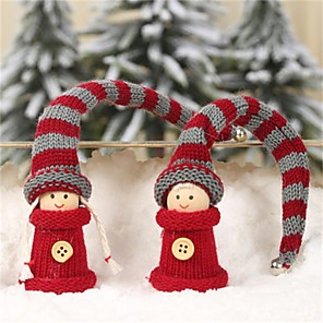 cheap Christmas Decorations-A Pair Of New Foreign Trade Explosion Models Christmas Decorations Long Hair Work Kids Pendant Small Doll Ornaments 2Pcs/Set