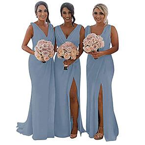 cheap Bridesmaid Dresses-Mermaid / Trumpet V Neck Sweep / Brush Train Chiffon Bridesmaid Dress with Ruching / Pleats