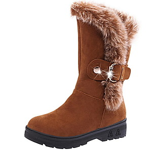 cheap Women's Boots-Women's Boots Snow Boots Flat Heel Round Toe Suede Mid-Calf Boots Winter Camel / Wine / Black