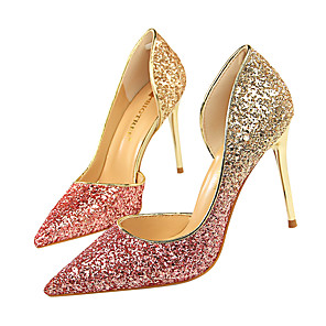 cheap Wedding Shoes-Women's Wedding Shoes Glitter Crystal Sequined Jeweled Stiletto Heel Pointed Toe Sequin Synthetics Minimalism Fall / Spring & Summer Wine / White / Silver / Fuchsia / Party & Evening / Color Block