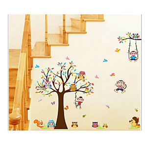 cheap Wall Stickers-XL8192 Cartoon Owl Big Tree Animal Party Children's Room Kindergarten Decoration Removable Stickers