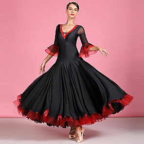 cheap Dancewear-Ballroom Dance Dress Cascading Ruffles Split Joint Crystals / Rhinestones Women's Performance Half Sleeve High Spandex Chiffon Tulle