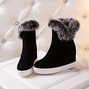 cheap Wedding Shoes-Women's Boots Snow Boots Hidden Heel Round Toe Suede Mid-Calf Boots Preppy / Minimalism Fall & Winter Black / Gray
