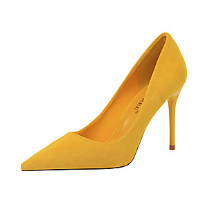 cheap Women's Heels-Women's Heels Stiletto Heel Pointed Toe Synthetics Minimalism Spring & Summer Yellow / Green / Red / Party & Evening