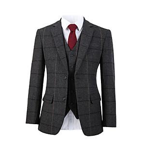 cheap Custom Tuxedo-Gray wide herringbone tweed wool custom suit
