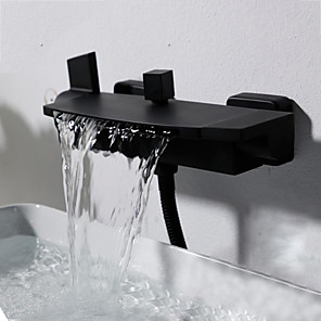 cheap Bathtub Faucets-Bathtub Faucet Chrome Wall Mounted Ceramic Valve Bath Shower Mixer Taps / Two Handles Two Holes