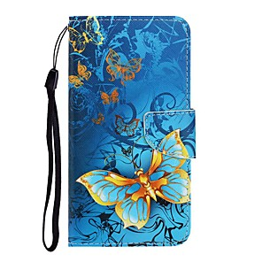 cheap Huawei Case-Case For Huawei Y7 2019 /Y6 (2019) / Honor 8X Wallet / Card Holder / with Stand Full Body Cases Butterfly PU Leather Y5 2018/Y5 2019/Y9 2019/Honor 9X/P Smart 2019/P30 Lite/Enjoy 7S