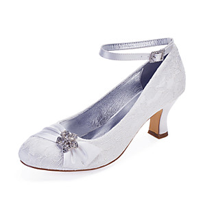 cheap Wedding Shoes-Women's Wedding Shoes Cuban Heel Round Toe Rhinestone / Satin Flower / Sparkling Glitter Lace / Satin Classic / Vintage Spring & Summer / Fall & Winter White / Ivory / Party & Evening