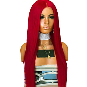 cheap Synthetic Lace Wigs-Synthetic Lace Front Wig Straight Middle Part Lace Front Wig Long Red Synthetic Hair 18-26 inch Women's Adjustable Heat Resistant Party Red