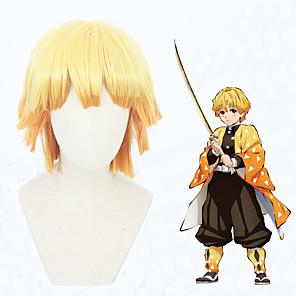 cheap Anime Costumes-Demon Slayer: Kimetsu no Yaiba Agatsuma Zenitsu Cosplay Wigs Men's Women's 12 inch Heat Resistant Fiber Orange Orange Anime
