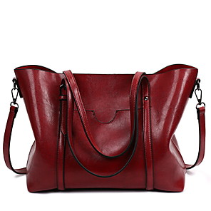 cheap Handbag & Totes-Women's Bags Cowhide Tote Zipper for Daily Black / Blue / Red