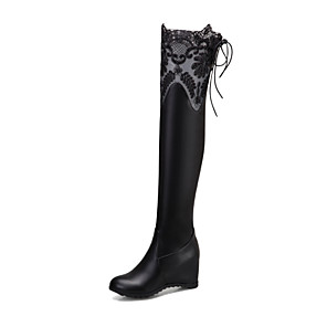 cheap Women's Boots-Women's Boots Hidden Heel Round Toe PU Over The Knee Boots Minimalism Spring &  Fall / Fall & Winter Black / White / Party & Evening