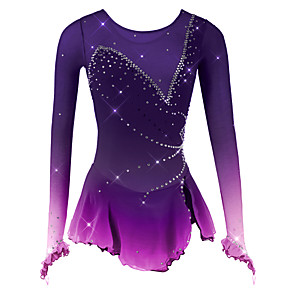 cheap Ice Skating Dresses , Pants & Jackets-Figure Skating Dress Women's Girls' Ice Skating Dress Black White Purple Spandex Mesh High Elasticity Competition Skating Wear Breathable Handmade Novelty Fashion Dumb Light Long Sleeve Ice Skating